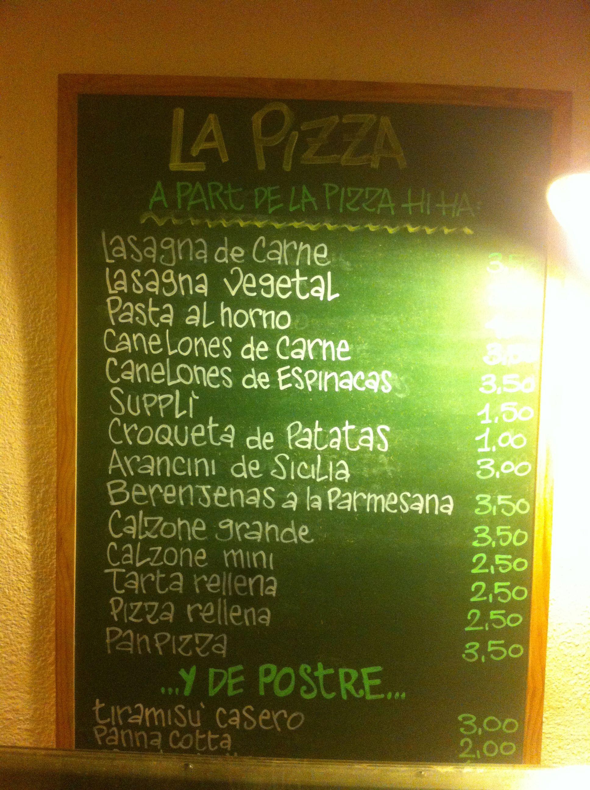 Menú de La PIzza