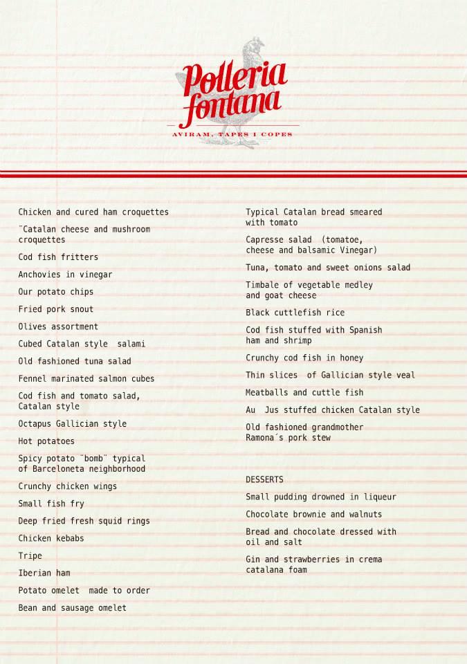 Polleria Fontana menu spanish
